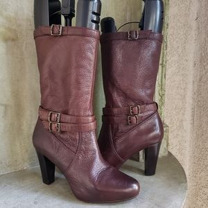 Frye Marissa slouch brown leather mid calf boots 8